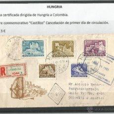 Sellos: HUNGRIA - CARTA CERTIFICADA DIRIGIDA DE HUNGRIA A COLOMBIA. Lote 49399875