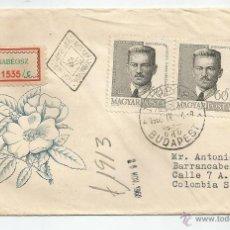 Sellos: CERTIFICADO DIRIGIDO DESDE HUNGRIA A COLOMBIA. Lote 49521852