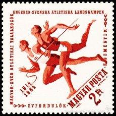 Sellos: HUNGRIA 1964 IVERT 1645 *** 50º ANIVERSARIO DEL PRIMER ENCUENTRO DEPORTIVO SUECIA-HUNGRIA - DEPORTES. Lote 57343956