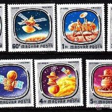 Sellos: HUNGRIA 1976 AEREO IVERT 384/90 *** CONQUISTA DEL ESPACIO - COHETES Y SONDAS ESPACIALES. Lote 64452691