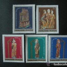 Sellos: HUNGRIA 1980 IVERT 2718/22 *** ARTE - SEPULCRO DE PASCUA DE GARAMSZENTBENEDEK . Lote 67424337