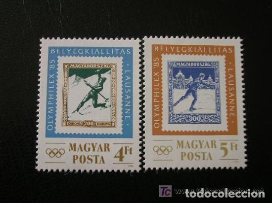 HUNGRIA 1985 IVERT 2968/9 *** EXPOSICIÓN FILATELICA INTERNACIONAL - OLYMPHILEX-85 - DEPORTES (Sellos - Extranjero - Europa - Hungría)