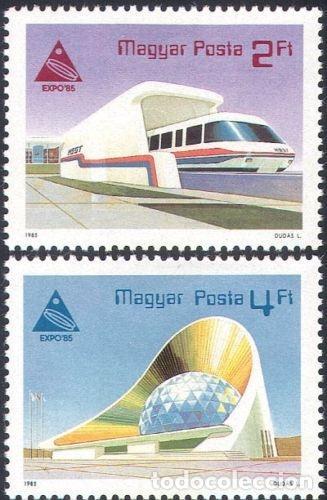 HUNGRIA 1985 IVERT 2975/6 *** EXPOSICIÓN INTERNACIONAL EN JAPON - EXPO-85 - TREN Y TEATRO (Sellos - Extranjero - Europa - Hungría)