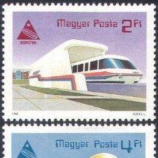 Sellos: HUNGRIA 1985 IVERT 2975/6 *** EXPOSICIÓN INTERNACIONAL EN JAPON - EXPO-85 - TREN Y TEATRO. Lote 68020477