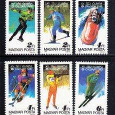 Sellos: HUNGRIA 1987 IVERT 3135/40 *** JUEGOS OLIMPICOS DE INVIERNO 1988 EN CALGARY - DEPORTES. Lote 68825949