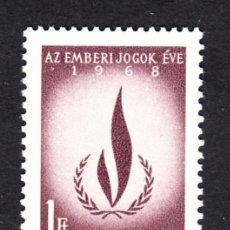 Sellos: HUNGRIA 1968 IVERT 2010 *** AÑO IINTERNACIONAL DE LOS DERECHOS HUMANOS. Lote 90937655