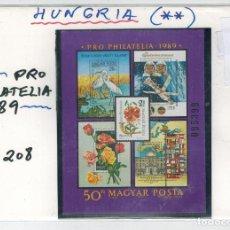 Sellos: HOJA BLOQUE DE HUNGRIA POR FILATELIA AÑO 1989. Lote 99207983