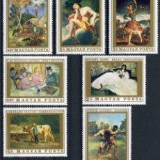 Sellos: HUNGRIA 1969 IVERT 2044/50 *** OBRAS DE PINTORES FRANCESES - PINTURA. Lote 115002039