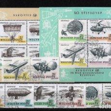 Sellos: HUNGRIA 1967 EXPOSICION AEROFILATELICA 2 SERIES COMPLETAS MAS 2 HOJITAS BLOQUE. Lote 121974091