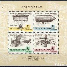 Sellos: HUNGRIA 1967 HB IVERT 63 *** EXPOSOCIÓN AEROFILATÉLICA INTERNACIONAL DE BUDAPEST (I) - AVIONES. Lote 122812103