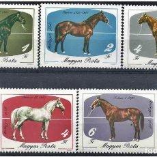 Sellos: HUNGRIA 1985 - CABALLOS - CHEVAUX - HORSES - YVERT Nº 2988-2992**. Lote 124451043