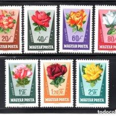 Sellos: HUNGRIA 1962 IVERT 1516/22 *** FLORA - ROSAS DIVERSAS. Lote 127839075