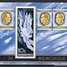 Sellos: HUNGRIA 1968 HB IVERT 69 *** MUERTE DE LOS ASTRONAUTAS WHITE, GAGARINE Y KOMAROV - CONQUISTA ESPACIO. Lote 128018743