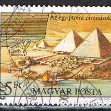 Sellos: HUNGRIA Nº 3440, LAS PÌRAMIDES DE EGIPTO (MARAVILLAS DEL MMUNDO ANTIGUO), USADO. Lote 128561507
