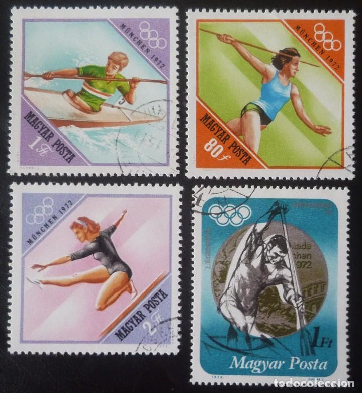 LOTE DE CUATRO SELLOS DE HUNGRIA. TEMA JUEGOS OLIMPICOS DE MUNICH 1972 (Sellos - Extranjero - Europa - Hungría)