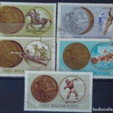 Sellos: HUNGRIA - 5 SELLOS IVERT 1700-1-2-3-4 - JUEGOS OLIMPICOS DE TOKIO 1964 - NUEVOS SIN GOMA MATASELLADO. Lote 150614530