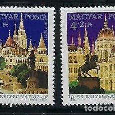 Sellos: HUNGRIA 1982 IVERT 2827/8 *** DÍA DEL SELLO - VISTAS DE BUDAPEST - MONUMENTOS. Lote 171584054