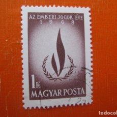 Sellos: HUNGRIA 1968, AÑO INTERNACIONAL DERECHOS DEL HOMBRE, YVERT 2010. Lote 176081749