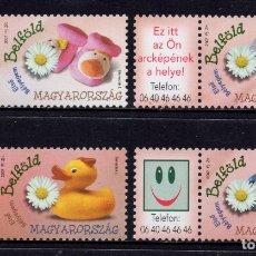 Sellos: HUNGRIA 4233/36** - AÑO 2007 - SELLOS DE MENSAJE - NACIMIENTOS. Lote 176916104
