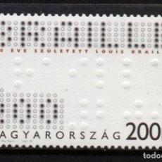 Sellos: HUNGRIA 4362** - AÑO 2009 - PERSONALIDADES - LOUIS BRAILLE, INVENTOR DEL LENGUAJE PARA CIEGOS. Lote 178220248