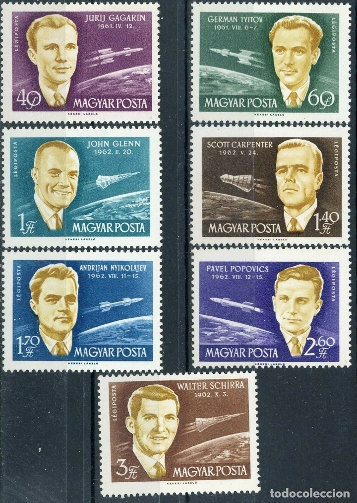 HUNGRIA 1962 AEREO IVERT 243/9 *** ASTRONAUTAS - CONQUISTA DEL ESPACIO (Sellos - Extranjero - Europa - Hungría)