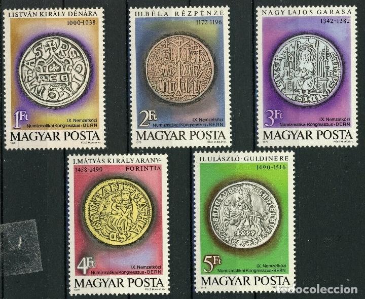 HUNGRIA 1979 IVERT 2683/7 *** 9º CONGRESO INTERNACIONAL DE NUMISMATICA - MONEDAS ANTIGUAS (Sellos - Extranjero - Europa - Hungría)