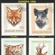 Sellos: HUNGRIA 1966 - HU 2255A A 2258A - 4 SELLOS NUEVOS - TEMA ANIMALES SALVAJES. Lote 194087556