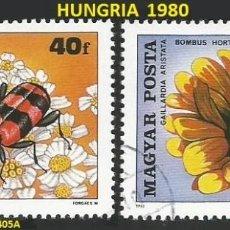 Sellos: HUNGRIA 1980 - HU 3405A Y 3406A - 2 SELLOS NUEVOS - TEMA INSECTOS. Lote 194087666