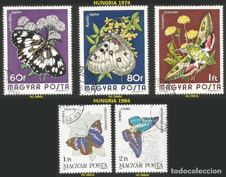 HUNGRIA 1974 Y 1984 - 5 SELLOS NUEVOS - TEMA MARIPOSAS (Sellos - Extranjero - Europa - Hungría)