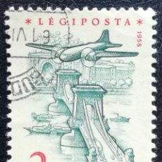 Sellos: 1954. HUNGRÍA. 218. AVIÓN SOBRE EL PUENTE DE LAS CADENAS EN BUDAPEST. USADO.. Lote 195207050