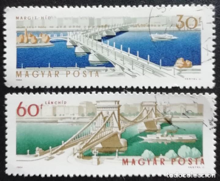 1964. HUNGRÍA. 1684, 1685. PUENTES ARPAD Y MARGARITA SOBRE LAS AGUAS DEL DANUBIO EN BUDAPEST. USADO. (Sellos - Extranjero - Europa - Hungría)