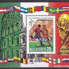 Sellos: HUNGRIA 1990 - CAMPEONATO DEL MUNDO DE FULTBOL ITALIA 90 - YVERT BLOCK Nº 211**. Lote 221702855
