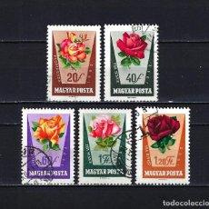 Sellos: 1962 HUNGRÍA MICHEL 1856/1861 YVERT 1516/1521 (- 1519) FLORA FLORES ROSAS USADOS. Lote 221704120