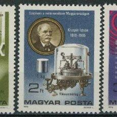 Sellos: HUNGRIA 1975 IVERT 2488/90 *** CENTENARIO ADOPCIÓN DEL SISTEMA MÉTRICO EN HUNGRIA. Lote 222453538