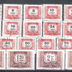 Sellos: HUNGRIA TASAS Nº 216/234º SERIE COMPLETA. Lote 294004378