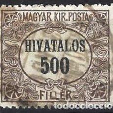 Sellos: HUNGRÍA 1921 - SELLO OFICIAL, NÚMERICO - USADO. Lote 228040860