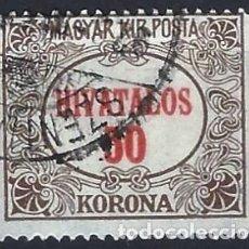 Sellos: HUNGRÍA 1922 - SELLOS OFICIALES, NÚMERICOS - USADO. Lote 228041965