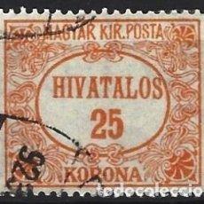 Sellos: HUNGRÍA 1922 - SELLOS OFICIALES, NÚMERICOS - USADO. Lote 228043140