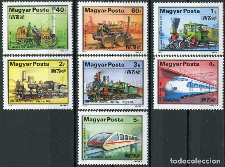 HUNGRIA 1979 IVERT 2655/61 *** EXPOSICIÓN INTERNACIONAL TRANSPORTE - DESARROLLO FERROCARRIL - TRENES (Sellos - Extranjero - Europa - Hungría)