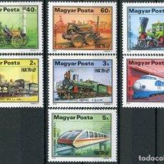 Sellos: HUNGRIA 1979 IVERT 2655/61 *** EXPOSICIÓN INTERNACIONAL TRANSPORTE - DESARROLLO FERROCARRIL - TRENES. Lote 228169225