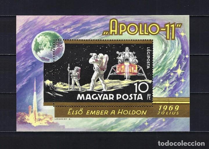 1969 HUNGRÍA MICHEL HB 72 YVERT HOJA BLOQUE 79 ESPACIO APOLO XI - USADO (Sellos - Extranjero - Europa - Hungría)