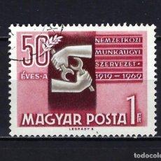 Sellos: 1969 HUNGRÍA MICHEL 2505 YVERT 2042 ANIVERSARIO OIT - USADO. Lote 228356005