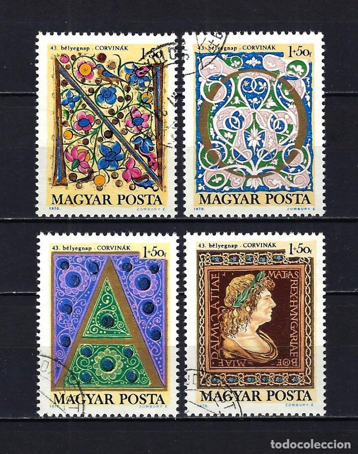 1970 HUNGRÍA MICHEL 2603/2606 YVERT 2110/2113 DÍA DEL SELLO - MANUSCRITOS ANTIGUOS - USADOS (Sellos - Extranjero - Europa - Hungría)