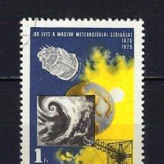 Sellos: 1970 HUNGRÍA MICHEL 2580 YVERT 2095 100 ANIVERSARIO SERVICIO METEREOLÓGICO - USADO. Lote 228382200