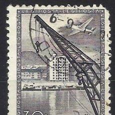 Timbres: HUNGRÍA 1950 - MOTIVOS LOCALES, PUERTO DEL DANUBIO, AÉREO - USADO. Lote 228787555