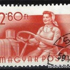 Francobolli: HUNGRÍA 1955 - PROFESIONES, TRACTORISTA - USADO. Lote 229978365