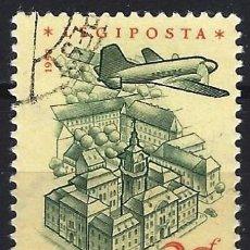 Francobolli: HUNGRÍA 1958 - AVIÓN SOBREVOLANDO DIVERSOS LUGARES, AÉREO, PAPEL AMARILLO - USADO. Lote 229984725