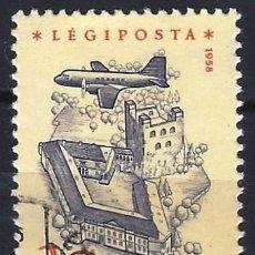 Francobolli: HUNGRÍA 1958 - AVIÓN SOBREVOLANDO DIVERSOS LUGARES, AÉREO, PAPEL AMARILLO - USADO. Lote 229984835