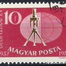 Timbres: HUNGRÍA 1959 - AÑO INTERNACIONAL GEOFÍSICO, BALANZA DE TORSIÓN - USADO. Lote 229988010