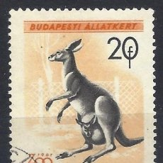 Timbres: HUNGRÍA 1961 - ZOO DE BUDAPEST, CANGURO - USADO. Lote 230000740